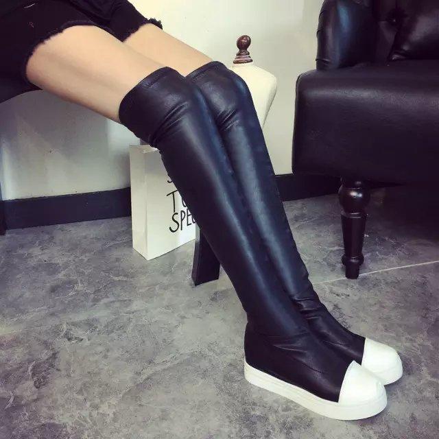 长靴子 黑白拼接女鞋 包邮 长筒靴平底过膝靴厚底时尚 弹力靴唐嫣同款