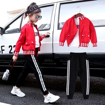 女童秋装三件套2018新款中大童时髦运动衣服儿童洋气套装女孩秋季
