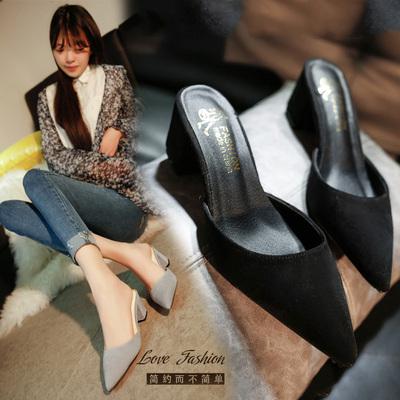 夏季2019新款女鞋包头凉拖女外穿韩版粗跟黑色试衣鞋高跟拖鞋大码