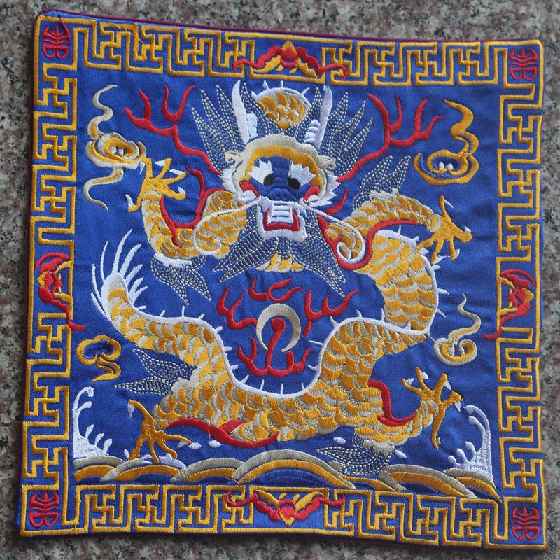 现代中式大号餐具隔热茶杯垫 祥龙刺绣布艺锅碗方形可做鼠标垫子