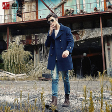 Mochen 2018 New Men's Long Wool Fabric Overcoat, Tibetan Blue Cashmere Fabric Overcoat, Windshirt Men's Wear