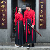 Traditional martial arts style Hanfu men's wide-sleeved big 氅 non-historic COS clothing cross-dressing skirt couple swordsman student set