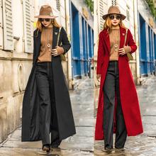 欧美新款 长款 开叉羊毛呢外套秋冬装 过膝呢大衣女士显瘦呢子风衣潮