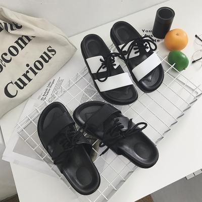 韩版拖鞋女夏平底时尚外穿学生厚底系带凉拖鞋情侣个性防滑一字拖