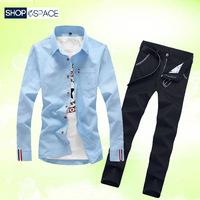 夏季青少年长袖衬衫韩版男士修身衬衣休闲长裤两件套装学生寸衫潮