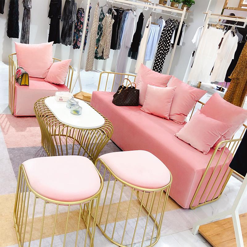 北欧铁艺单双人ins女装店美容院网红沙发小服装店店铺用沙发椅子