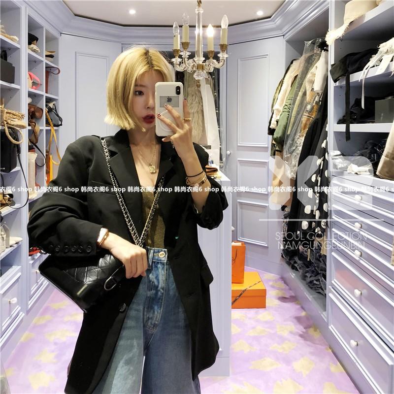 韩国东大门女装代购 2018年秋季新款X2纯色大翻领职场女士西装