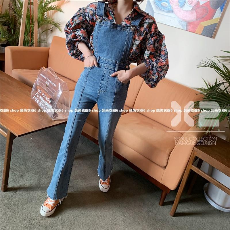 韩国东大门代购2019春季新款女装X2微喇毛边牛仔纯色背带裤