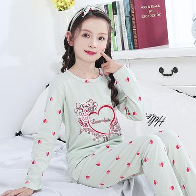 女童睡衣秋季新款长袖纯棉儿童睡衣宝宝套装绿色亲子装女孩家居服
