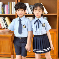 Summer school uniform children's suit British wind men and women children's clothing short-sleeved shirt primary and secondary school class clothing kindergarten clothing