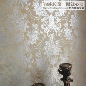 特惠 美国原装进口WQ墙纸 美式素色 欧式大马士革纯纸壁纸 一等品