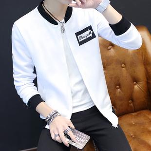 秋季棒球服男士韩版开衫连帽衫卫衣潮男装青少年学生男生白色外套