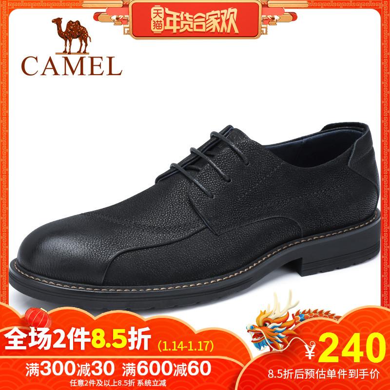 Camel/骆驼2018冬季新款男正装皮鞋韩版潮流男真皮牛皮休闲皮鞋男
