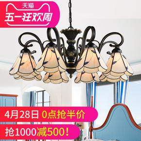 田园吊灯客厅灯卧室创意美式灯简约花草铁艺树脂蒂凡尼8头6头5头