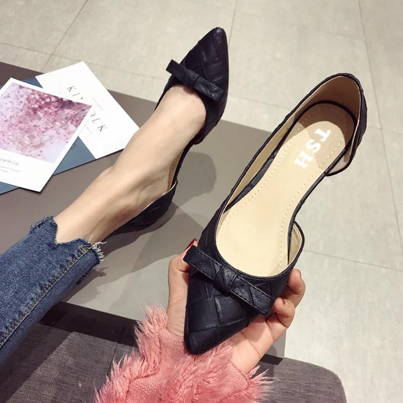 19新款尖头单鞋女低跟春季韩版侧空蝴蝶结浅口大码工作鞋上班鞋女