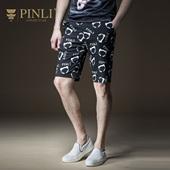 PINLI品立2018年夏季新款男装微弹修身印花休闲短裤潮B182117378