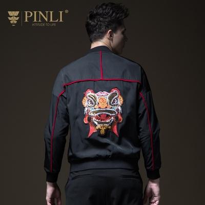 PINLI品立2018秋季男装棒球领贴布绣花夹克外套上衣潮B183404536