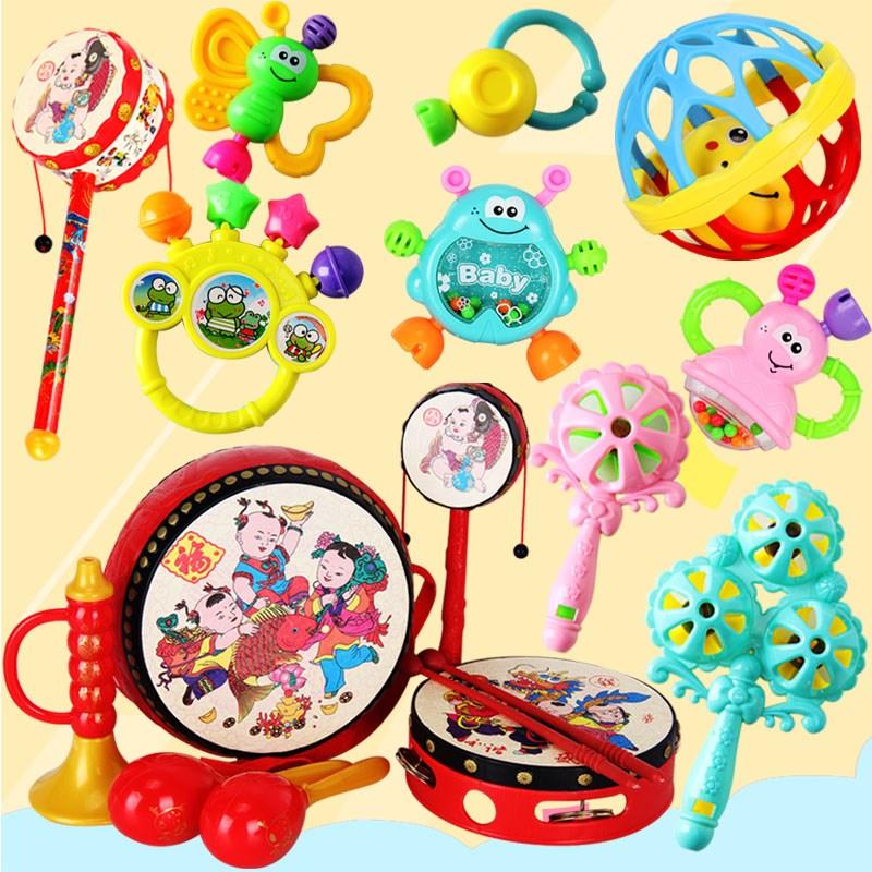 手铃鼓敲打婴儿玩具摇摇玲 女孩 0-1岁 手摇铃幼儿园牙胶摇摇套装