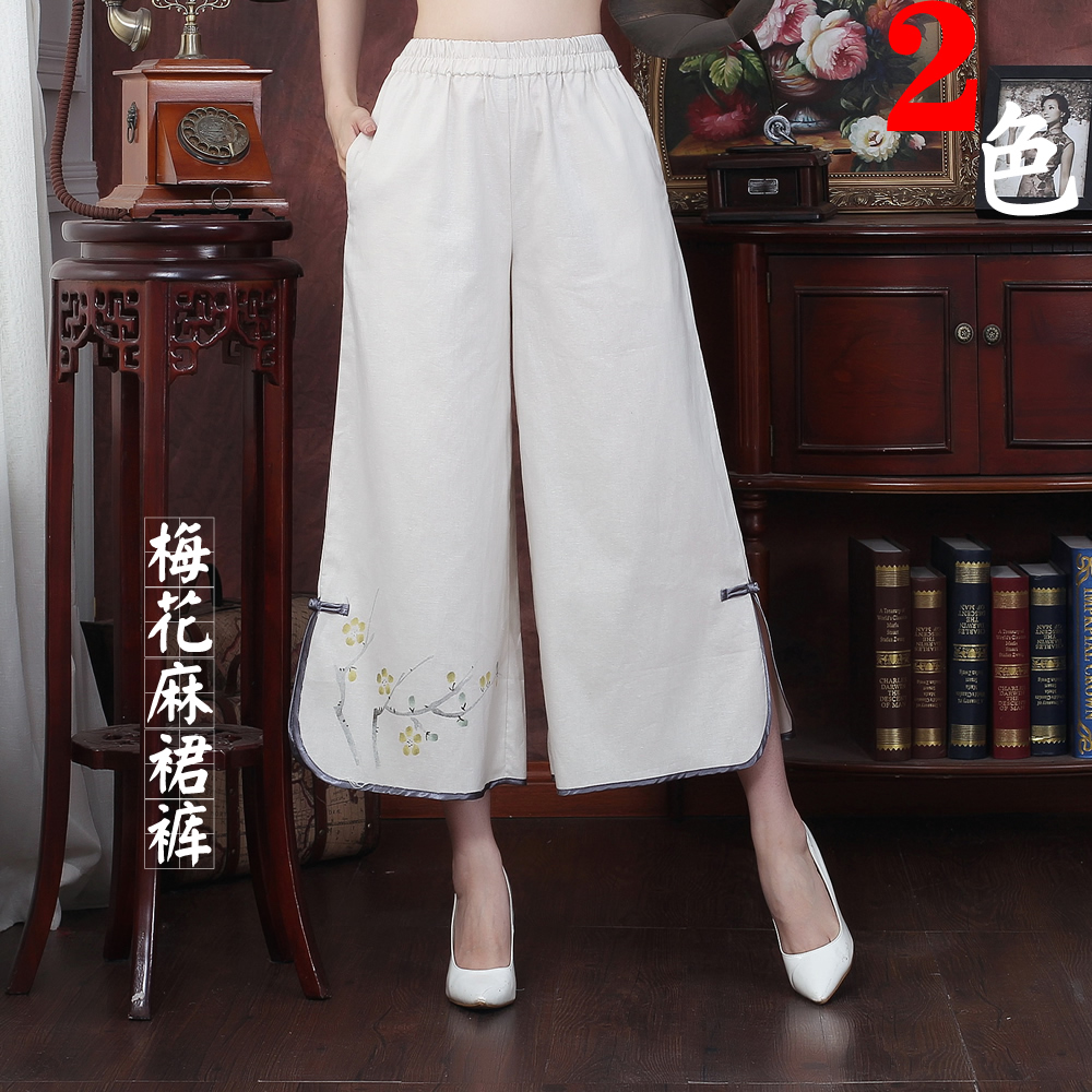 Spring, summer and autumn breathable cotton and linen hand-painted plum Chinese trousers Wide-legged Tang suit trousers