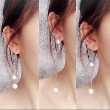 925银针耳链韩国气质纯银珍珠耳坠耳线长款防过敏流苏耳环耳钉女