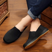 Old Beijing Cloth Shoes, Men's Black Working Shoes, Leisure Men's Low-Up Driving Shoes, Black Cloth Shoes, Bull Tendons and Bottom Slip-proof Construction Site
