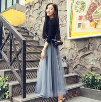 2018新款春季网纱裙中长款蕾丝百褶裙chic仙女裙子半身裙长裙夏季