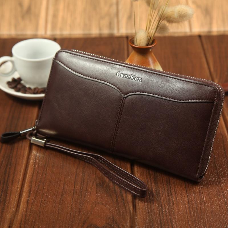 查看淘宝男士钱包商务休闲大容量手拿包软油蜡皮多卡位长款手机包男正品潮价格