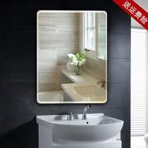 全实木浴室镜中式美式防水卫浴镜子洗手间壁挂镜卫生间化妆救楔做
