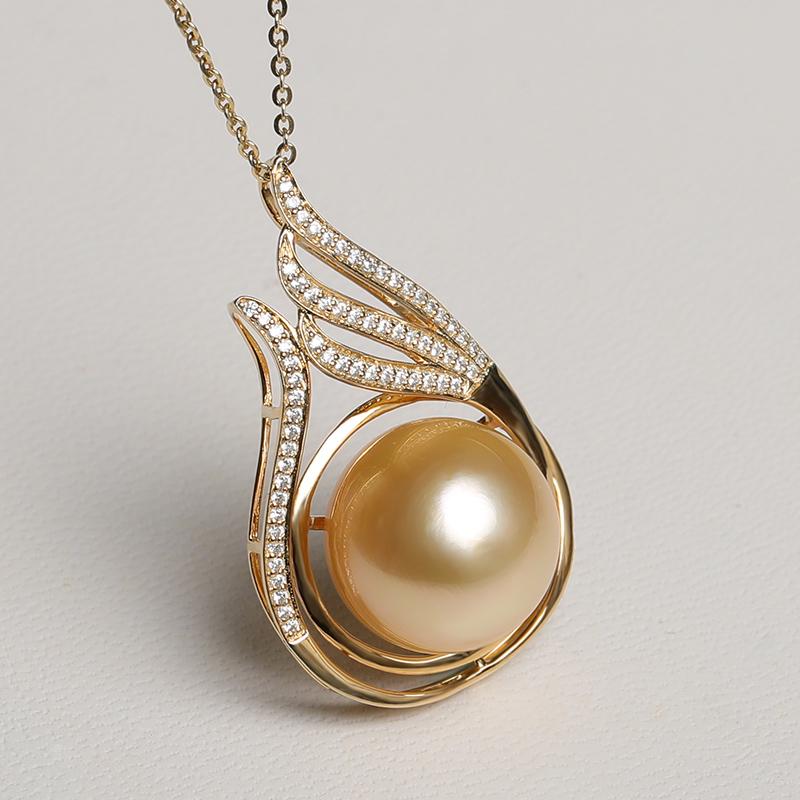 凤仪阁 南洋海水金珠吊坠项链13-14mm大颗925银正圆强光珍珠首饰