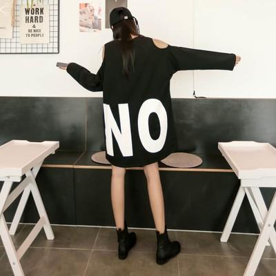 韩国代购高街拍小欧美范儿露肩宽松蝙蝠袖字母宽大拼色连衣裙3色