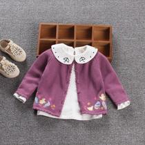 精灵女童新款宝宝针织开衫婴儿纯棉衣服春秋装长袖外套新生儿毛衣