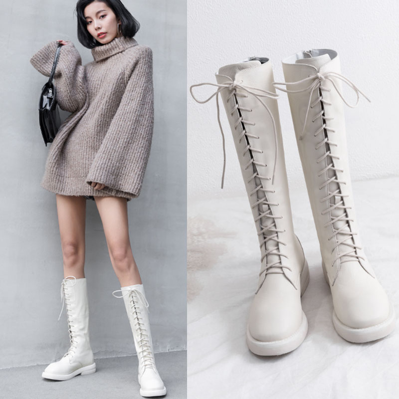 欧洲站冬白色靴子皮靴女长靴系带平底牛皮高筒骑士靴长筒军靴马靴