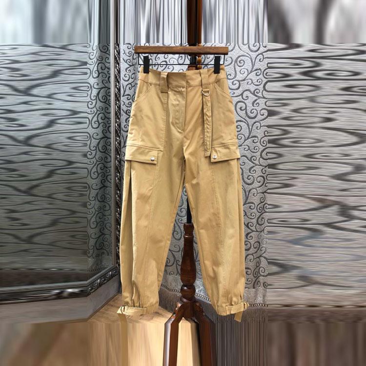 2018年春夏新款精品女装 时尚纯色裤脚系带休闲长裤
