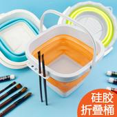 包邮大号折叠水粉水桶小号绘画洗笔筒学生可伸缩收纳儿童塑料水桶