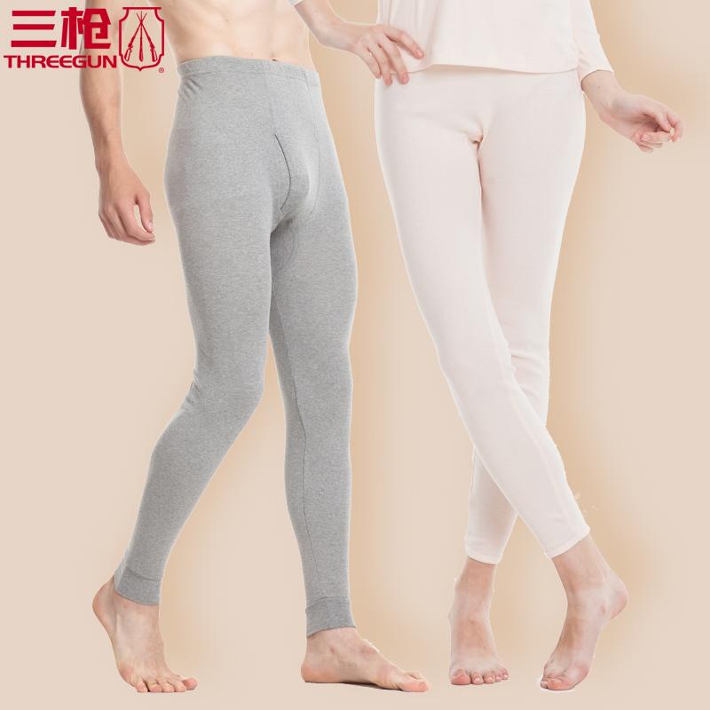 三枪秋裤男  男士保暖裤纯棉弹力女打底裤 棉毛裤薄款男士60286