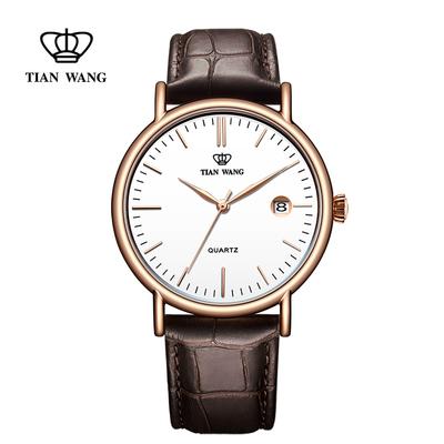 天王表正品时尚潮流腕表男士皮带手表简约休闲石英表3874