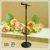 Enchanted microphone pure black microphone pickable small handmade DIY doll props scene height 15cm