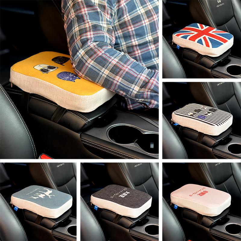 汽车中央扶手箱垫套车载加高通用型车内记忆棉布艺车用卡通可爱