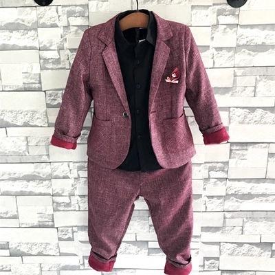 英伦儿童小西装套装花童外套主持2019冬季男孩时尚加绒礼服童装潮