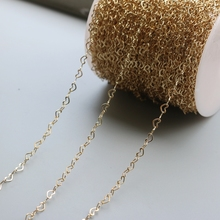 14K color-retaining gold-wrapped gold heart-shaped chain semi-finished DIY fittings chain 3*4mm 1m