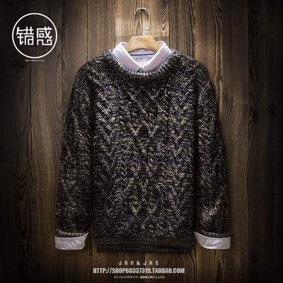 冬季潮牌加绒加厚麻花毛衣男日系复古粗线针织衫保暖毛线衣男装