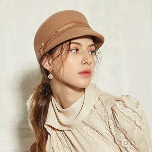 诗丹凯萨 军帽女 秋冬季英伦时尚画家帽简约羊毛呢帽复古小礼帽子