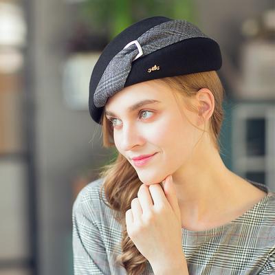 诗丹凯萨 贝雷帽女 黑色秋冬季英伦格纹蓓蕾帽时尚羊毛呢小礼帽子
