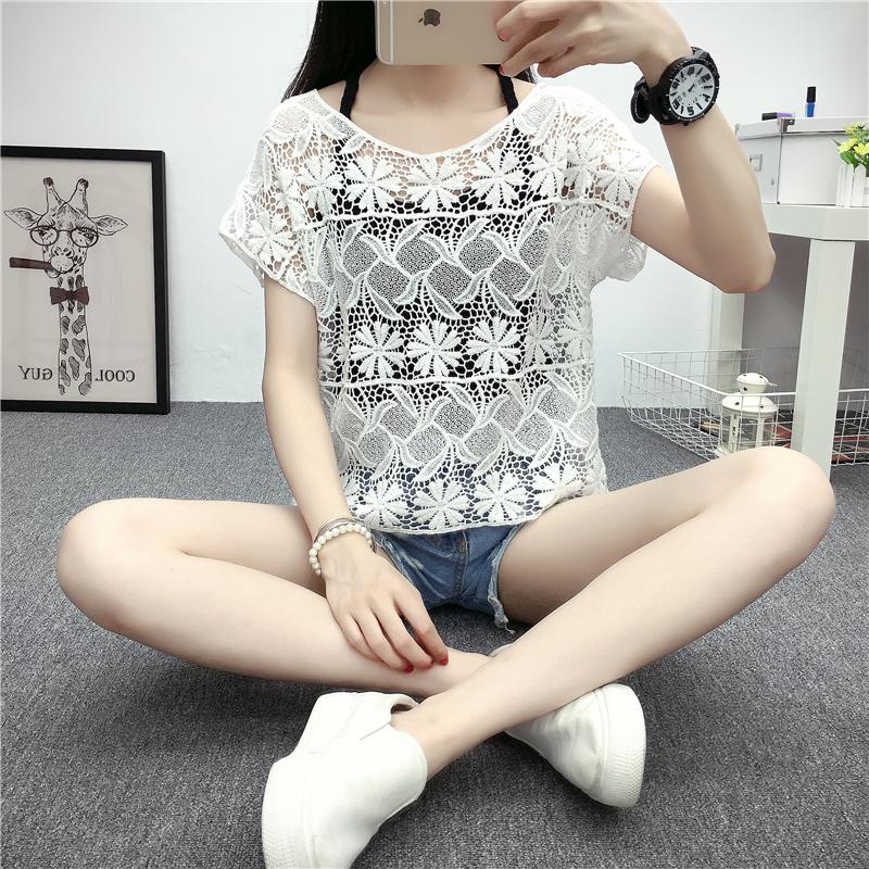 罩衫短款女夏鏤空