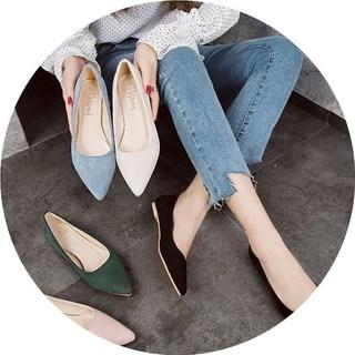 单鞋女春夏2018新款韩版黑色尖头平底鞋平跟瓢鞋百搭浅口工作女鞋
