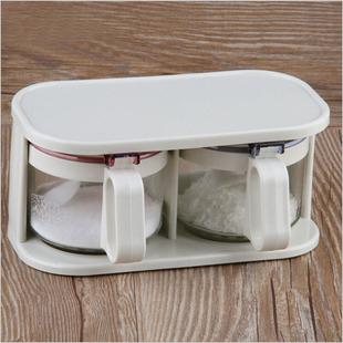 调味盒密封罐厨房调味瓶罐储物罐带勺玻璃调料瓶味精盐调料盒包邮