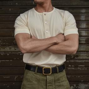 柴米美式复古亨利领阿美咔叽重磅T恤男短袖修身休闲纯色全棉夏季