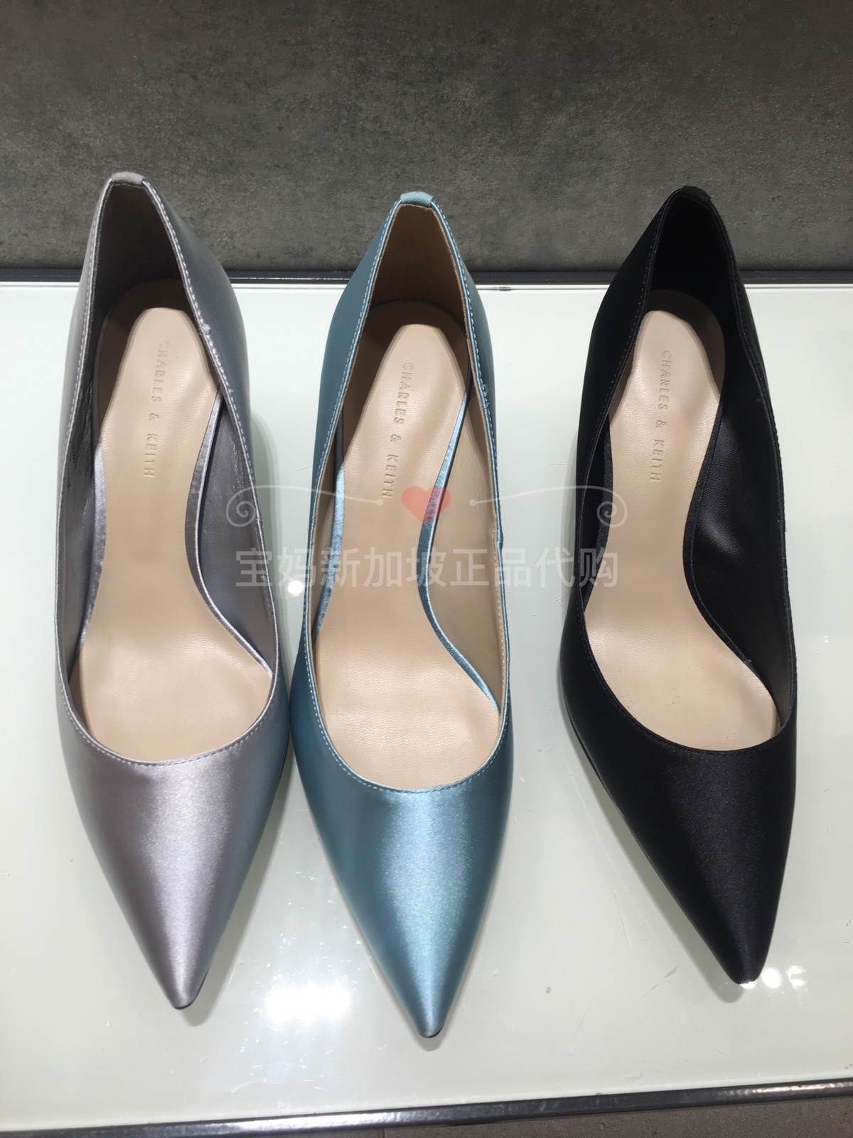 CHARLES&KEITH女士CK1-60361102半宝石通勤风格尖头高跟单鞋