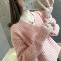 2019春装新款V领纯色针织衫打底套头毛衣女长袖韩版宽松针织上衣