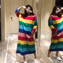 Rainbow striped nightdress girl spring and autumn cotton loose long skirt lovely Korean version large size nightwear winter home clothes